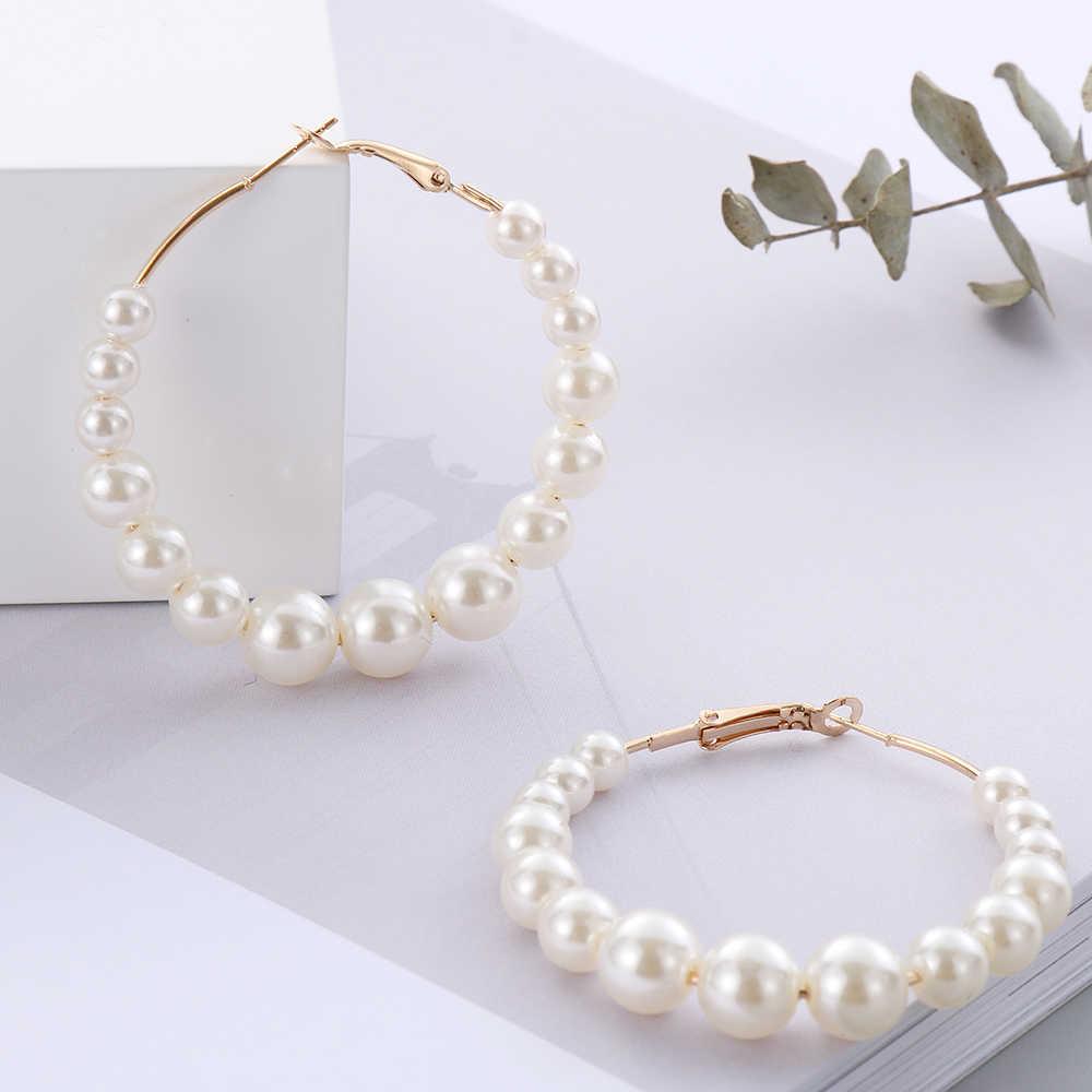 2019 ใหม่ผู้หญิง Elegant สีขาวไข่มุกรอบต่างหูสาววันเกิด Party Big Pearl วงกลมรอบต่างหูแฟชั่นเครื่องประดับ