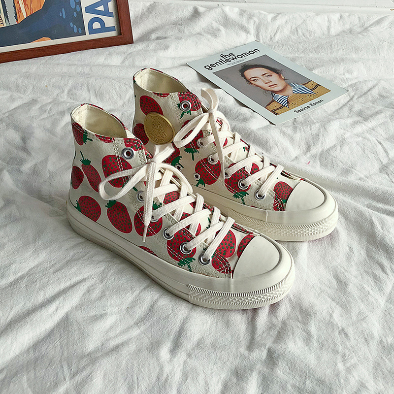 SWYIVY Strawberry Print Women Canvas Shoes Flats Women Vulcanized Shoes Lace-Up Female Casual Shoes Ladies Canvas Sneakers