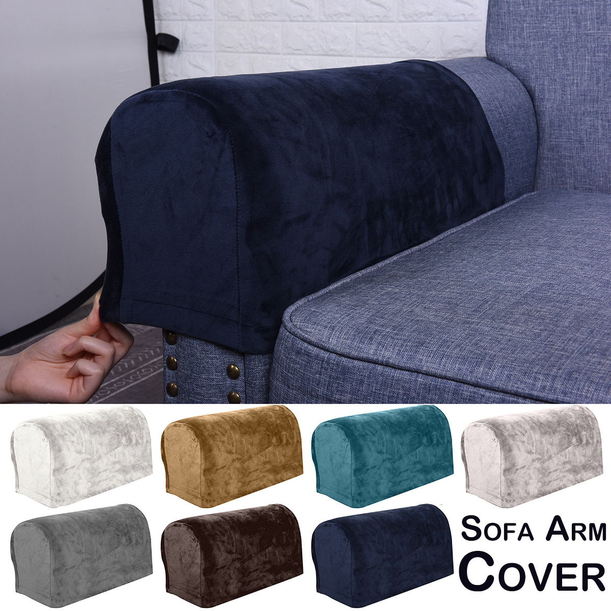 Spandex Stretch Fox Pile Velvet Sofa Arm Cover Fabric Armrest