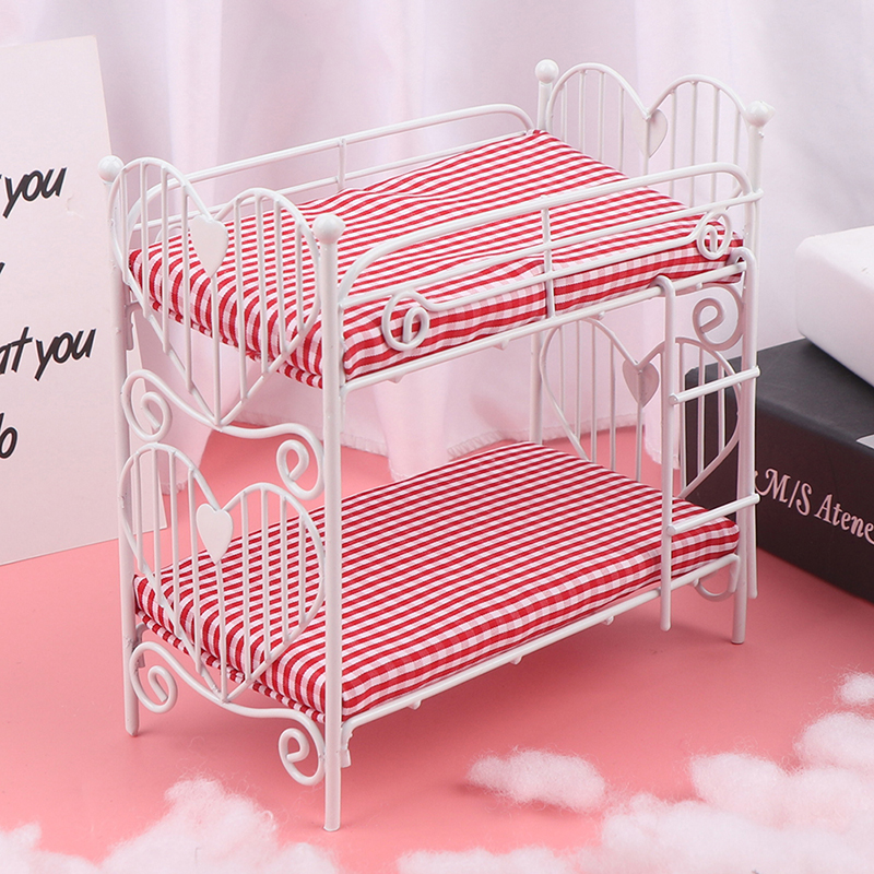 <font><b>1</b></font>:<font><b>12</b></font> Cute Mini Dolls House Toy Two-layer Bed Furniture Toys Dollhouse Accessories Pretend Play For Girl Gift image