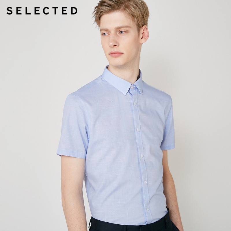 SELECTED Men's Slim Fit Checked Business Casual Short-sleeved Shirt T|419204545