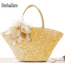 Straw handbag wallet sac main Multicolor shopping bag straw Dumpling shape Flower decoration beach bag women designer handbags цена 2017