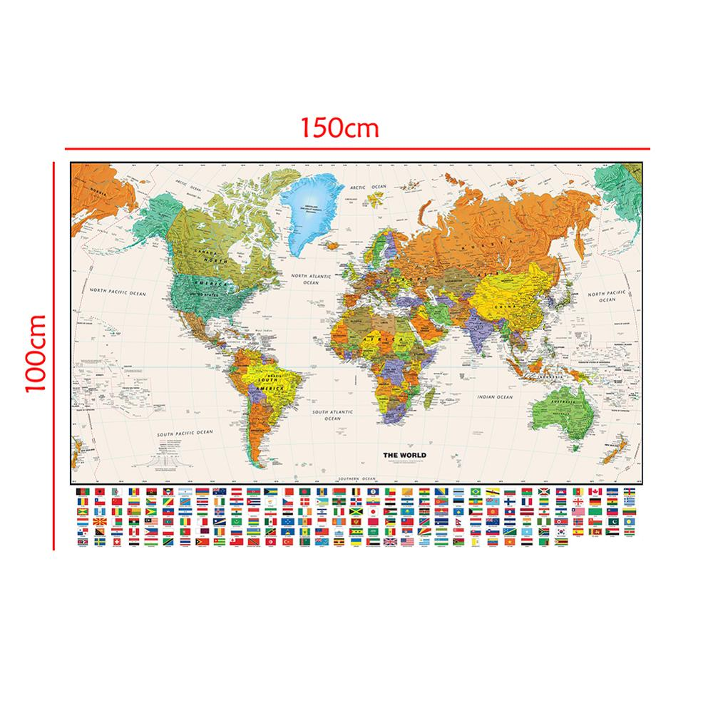 The World Physical Map With National Flag For Education And Culture Non-woven Spray World Map 150x100cm