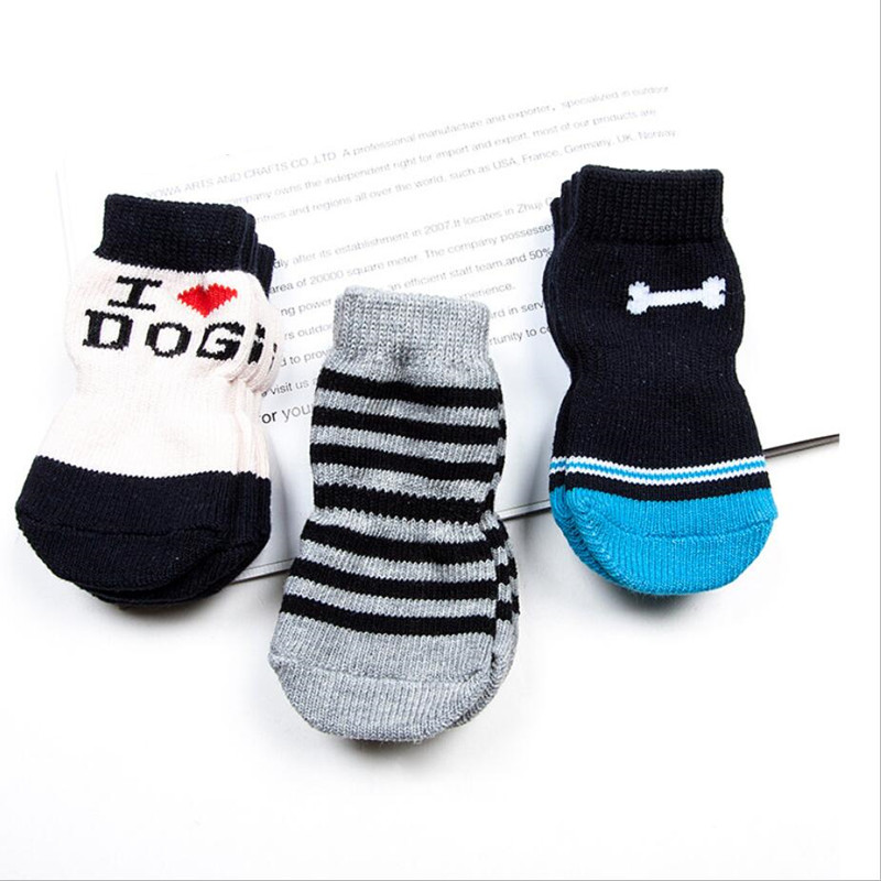 4 pcs lot Perro font b Pet b font Socks Cotton Anti slip Knit Weave Warm