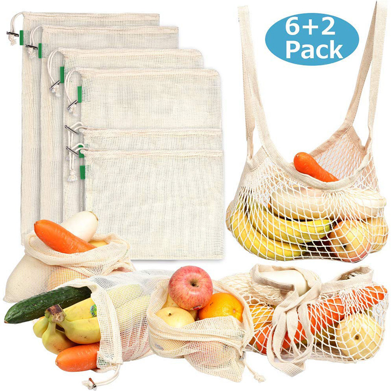 16 Pack Reusable Produce Bags Organic Cotton Washable Eco-Friendly Mesh Food Bags Vegetable Fruit Grocery Shopping Bag For Women