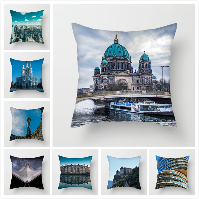 Fuwatacchi City Attractions Printed Pillows Cover Scenic Cushion Cover For Car Home Sofa Bedroom Decoration Pillowcase 2019