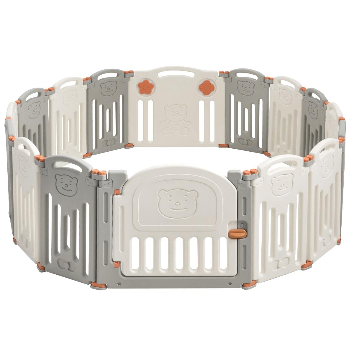 Foldable Baby Playpen 16 Panel Activity Center Home Self Yard W/ Lock Door