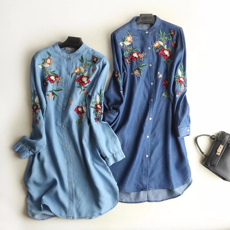Loose-Fit Stand Collar Tencel Denim Skirt Women's Spring Color Flower Embroidered Mid-length Shirt Dress S7100