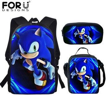 цена на Forudesigns 3pcs School Bags Set Anime Figure Children's Scool Backpack Sonic The Hedgehog Kids Book Bag For Teenager Boys 2020