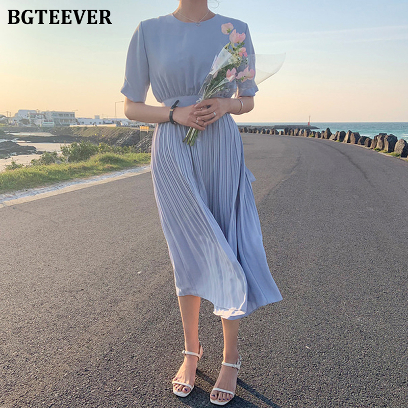 BGTEEVER Casual Loose O-neck Mid-length Dress For Women Summer Short Sleeve A-line Lace-up Midi Vestidos Ruched Female Dress