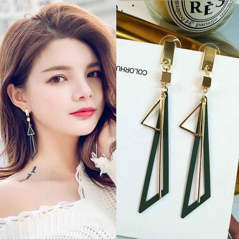 Pendientes largos triangulares geométricos para mujer 2020, pendientes largos en rosa, verde, negro y dorado, joyería elegante para fiesta o boda