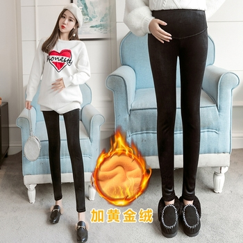 Maternity wear bottoming pants fashion autumn and winter models wear winter thick high waist pants plus velvet trousers фото