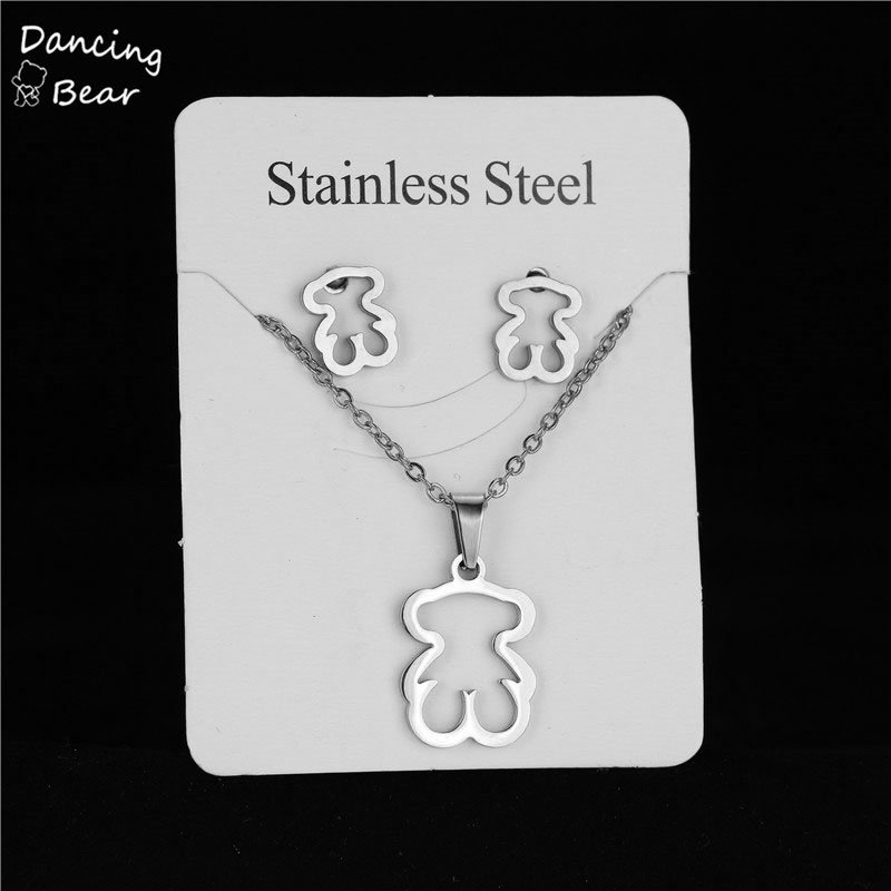 Silver Color Stainless Steel Necklace Earring Sets Bear Cross Clover Necklace Sets for Women Never Faded Color Jewelry Choker