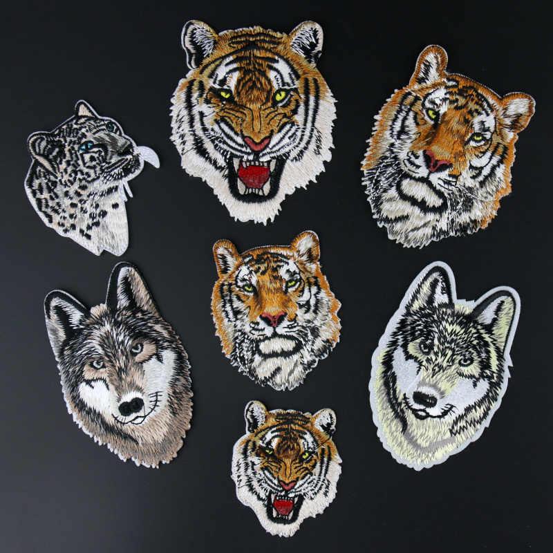 Di nuovo Modo di Leopardo Tigre Leone Lupo Ricamo di Ferro sulla Patch per I Vestiti Applique FAI DA TE Cappello Cappotto del Vestito Accessori Autoadesivo del Panno