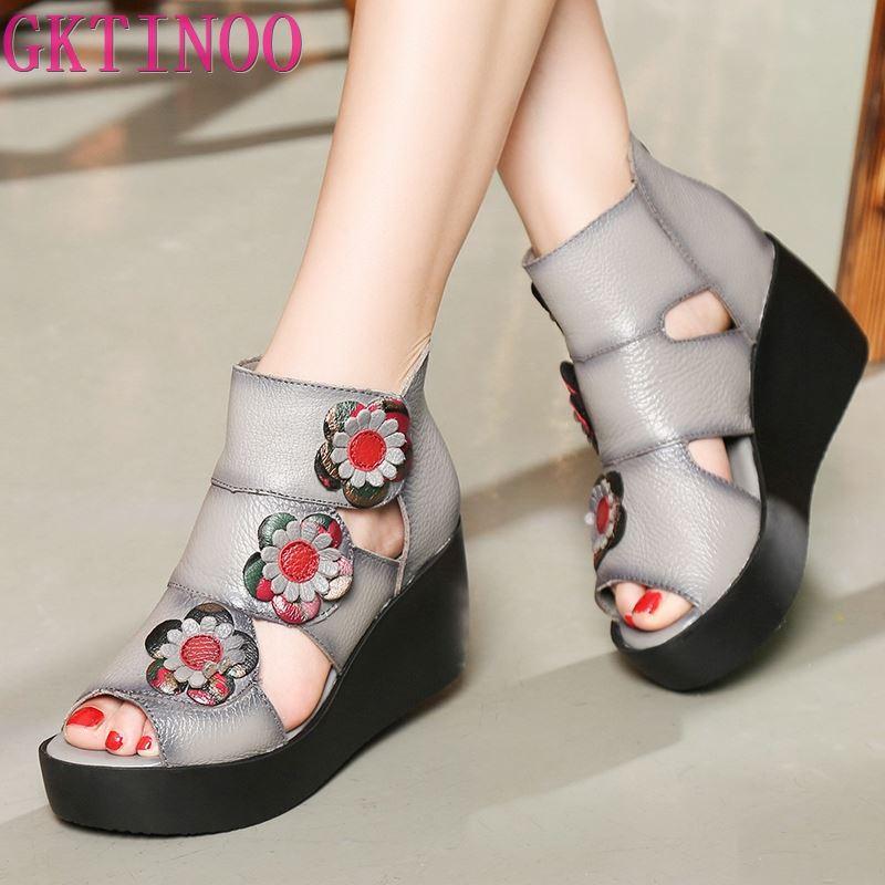 Femmes en cuir véritable à talons hauts plate-forme sandales dames sandales à talons compensés 2019 chaussures d'été