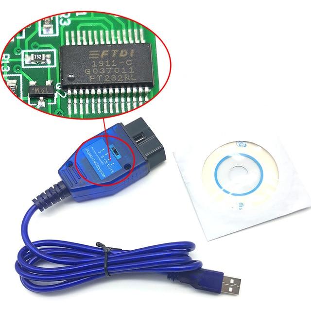 OBD2 FTDI FT232RL, Cable USB, escáner de diagnóstico OBDII para VW, Audi, Seat, Skoda, KKL, VAG COM, 409,1