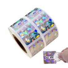 300 pçs 2x2cm retângulo ponto laser riscar fora etiquetas etiquetas cor prata metálica holograma scratch etiqueta do escritório