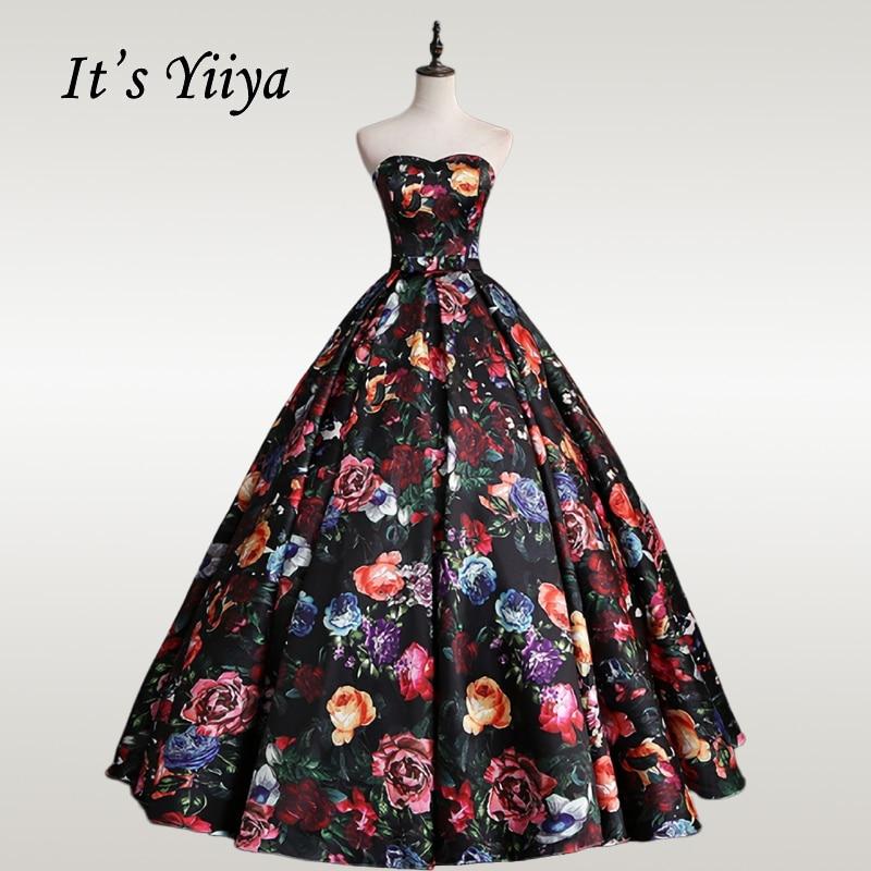 It's YiiYa Wedding Dress Vintage Floral Print Strapless Floor Length Wedding Ball GownsPlus Size Long Robe De Mariee CH172
