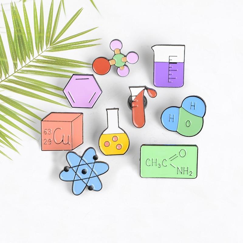 Химический цвет лабораторный контейнер значок научно-исследовательский штифт медицинская формула химии одежда отворот эмалированная бро...