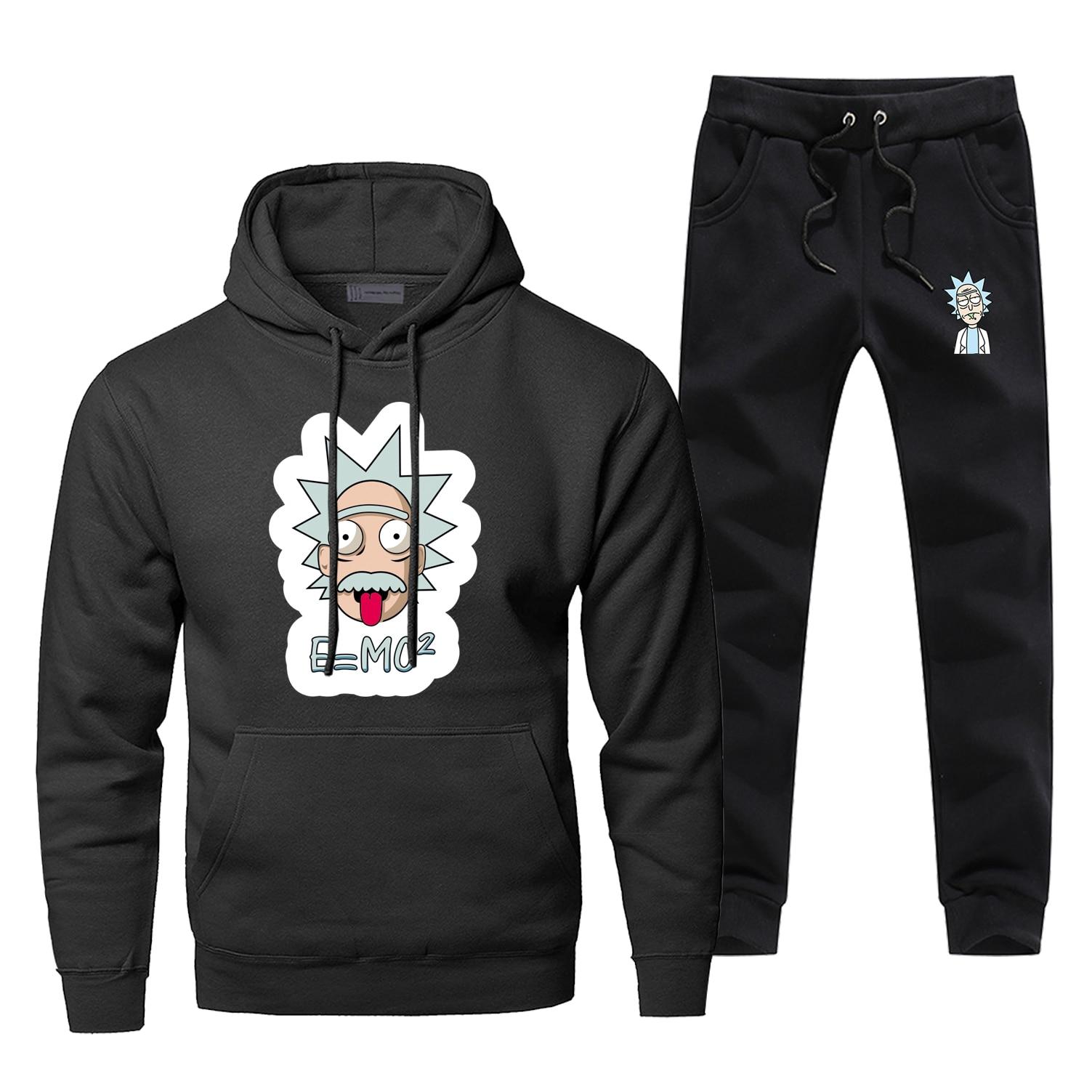 Einstein Rick And Morty Hoodie Pants Men Sets Suit Funny Set Pant Sweatshirt Sweatpants Sportswear Autumn Caroon 2 PCS Tracksuit