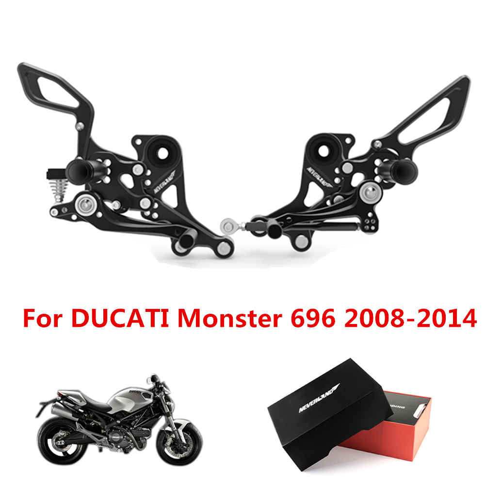 Motorcycle Footrest Pedal Foot Pegs CNC Aluminum For DUCATI Monster 696 2008 2009 2010 2011 2012 2013 2014