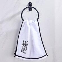 Free punch Nordic black towel ringspace aluminum round towel ring bathroom towel rack bathroom accessories in brushed nickel