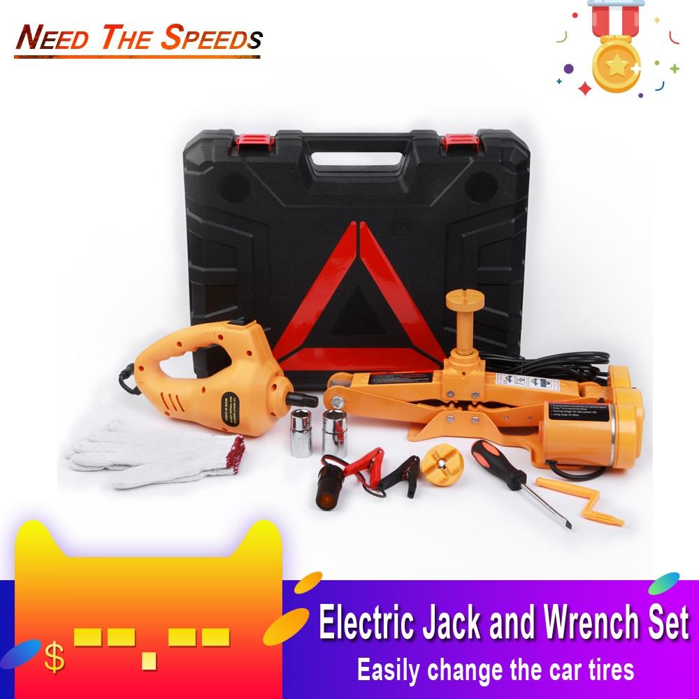 12V voiture électrique hydraulique plancher Jack ensemble de levage clé à chocs outil intégré Flash lumière LED pour les outils de réparation de pneus d'urgence