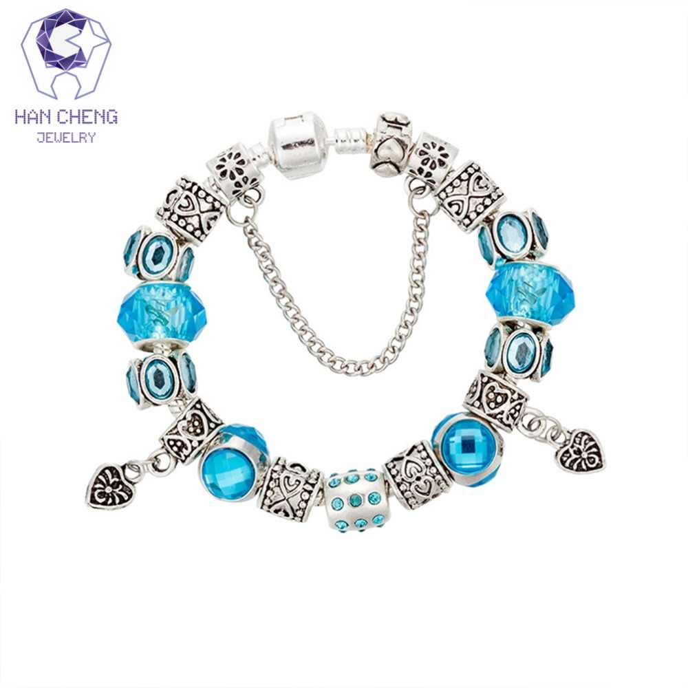 HanCheng Luxury Vintage Strand Heart Charm Bracelet Rhinestone Crystal Glass Beads Bracelets & Bangles for Women Jewelry Silver