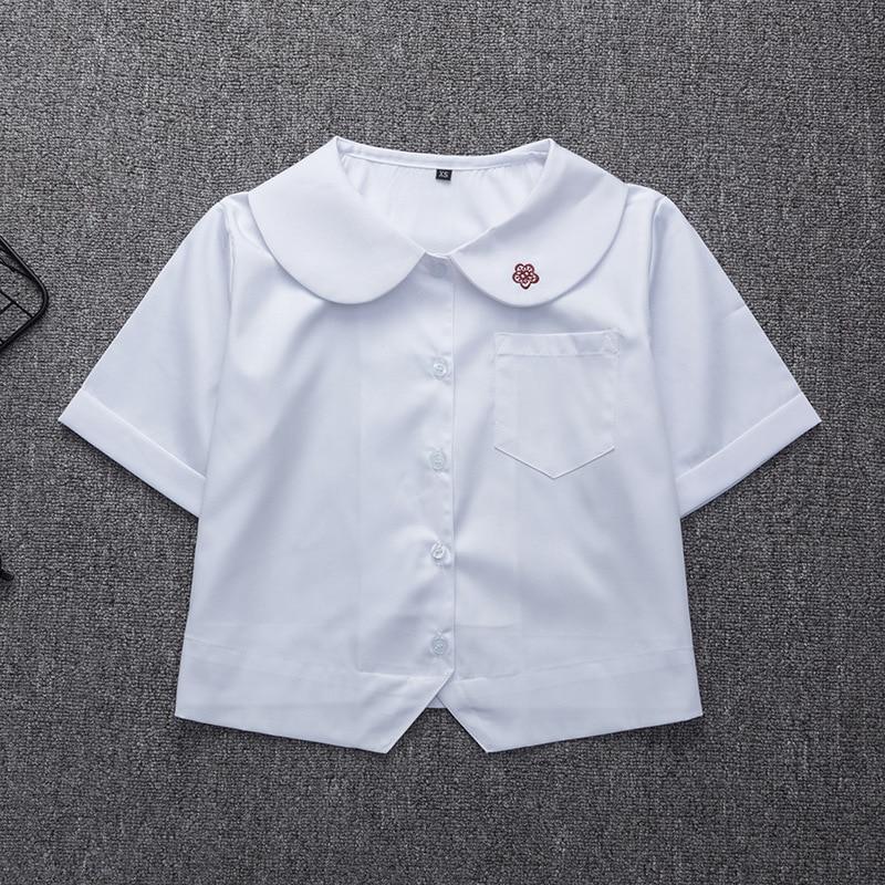 Japanese School Uniform For Girls Short Sleeve White Shirt School Dress Jk Sailor Suit Tops Plum Embroidery Cute Work Uniforms