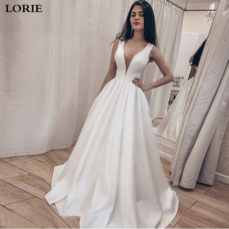 LORIE Wedding Dresses Satin A Line Boho Bride Dresses Sexy V Neck Wedding Gown Lace Up Back Vestido De Novia