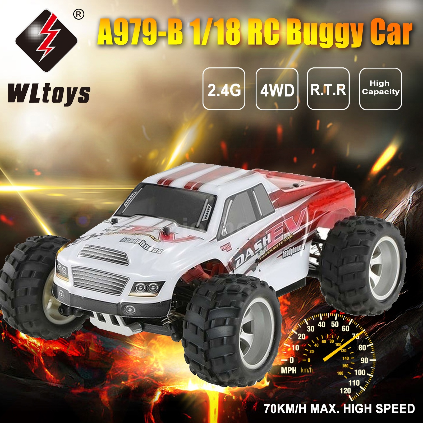 WLtoys A979-B Radio-controlled RC Car 1/18 2.4GHz 4WD High Speed Racing Car Off Road Buggy Rc Drift Car Boys Toys New Year Gift