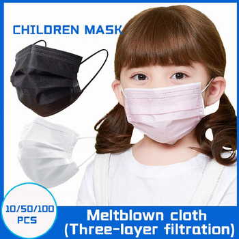 Kids Mask Disposable Non-woven 3-layer Filter Face Mask Pink Black White Blue Cartoon Printed For Children Mask 50pcs children face mask planet printed kids masks disposable white face mask 3 layer non woven melt blown face mouth mask 04