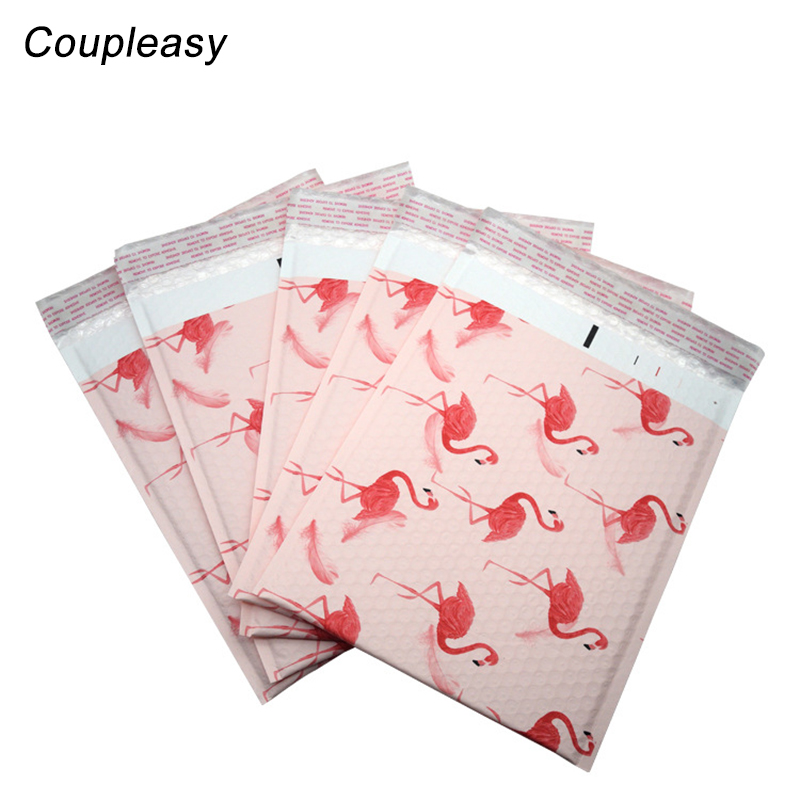 10Pcs/Lot <font><b>Large</b></font> Clothes Packaging Courier Bag Flamingo Plastic <font><b>Bubble</b></font> <font><b>Mailer</b></font> Shockproof Shipping Envelopes With <font><b>Bubble</b></font> 26x32cm image