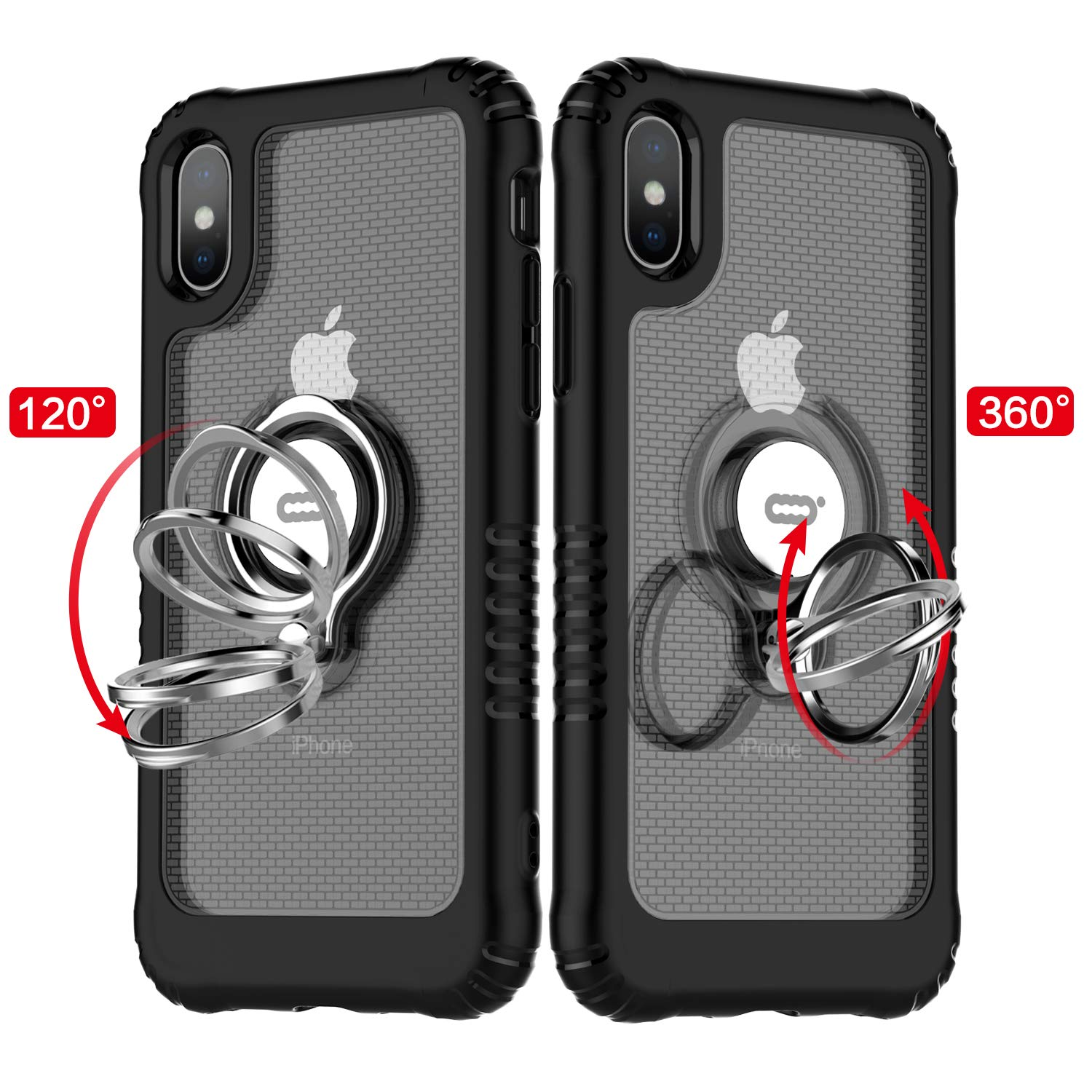 for iPhone Xs X XR Xs Max Case with Ring Kickstand 360 Degree Rotating Drop Airbag Protection Shock Absorption Case for iPhone X in Fitted Cases from Cellphones Telecommunications