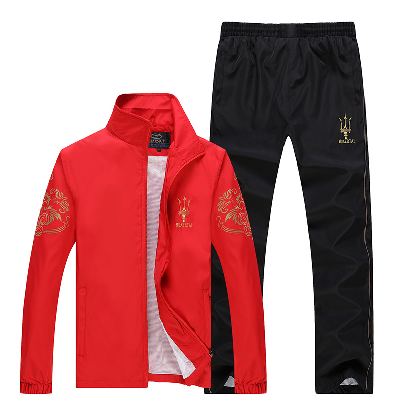 Spring And Autumn Brand Sports Set Men's Thin Outdoor Casual Sports Clothing Youth Athletic Clothing Large Size Set Men's