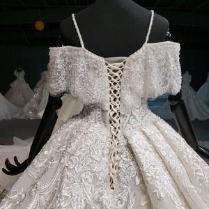 Image 5 - HTL916 koronkowe suknie ślubne z welon ślubny specjalna łódź z dekoltem, bez ramienia suknie ślubne balowe nowy vestido de noiva plus rozmiar