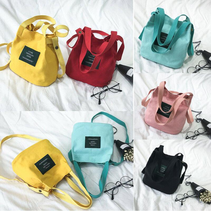Women Canvas Handbag Small Fresh Style Large Capacity Cloth Bag For Women's Single Shoulder Bags Solid Color Handbags