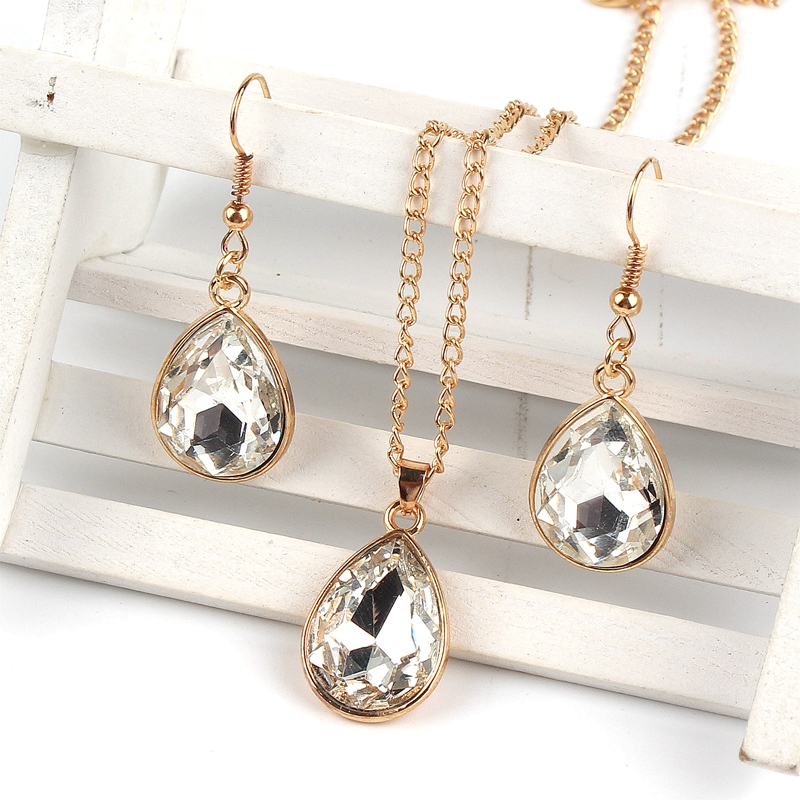 1 set Rose Gold Water drop Pendant Necklace earrings Fashion Jewelry white in Jewelry Sets from Jewelry Accessories