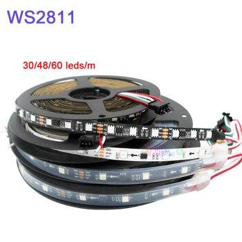 5m 30 48 60leds m 5050 smd rgb ws2811 smart pixel led strip addressable ws2811ic black white pcb 5m/lot WS2811 Smart Pixel Led Strip; Addressable DC12V 30/48/60leds/m full color  WS2811 IC RGB led light Tape