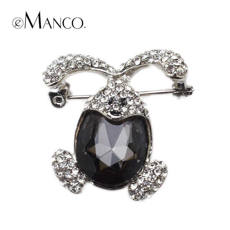 Besar Mewah Kristal Hitam Kelinci Besar Bros Emanco Baru Kualitas Tinggi Fashion Bijoux Hadiah Natal Kreatif BR02777