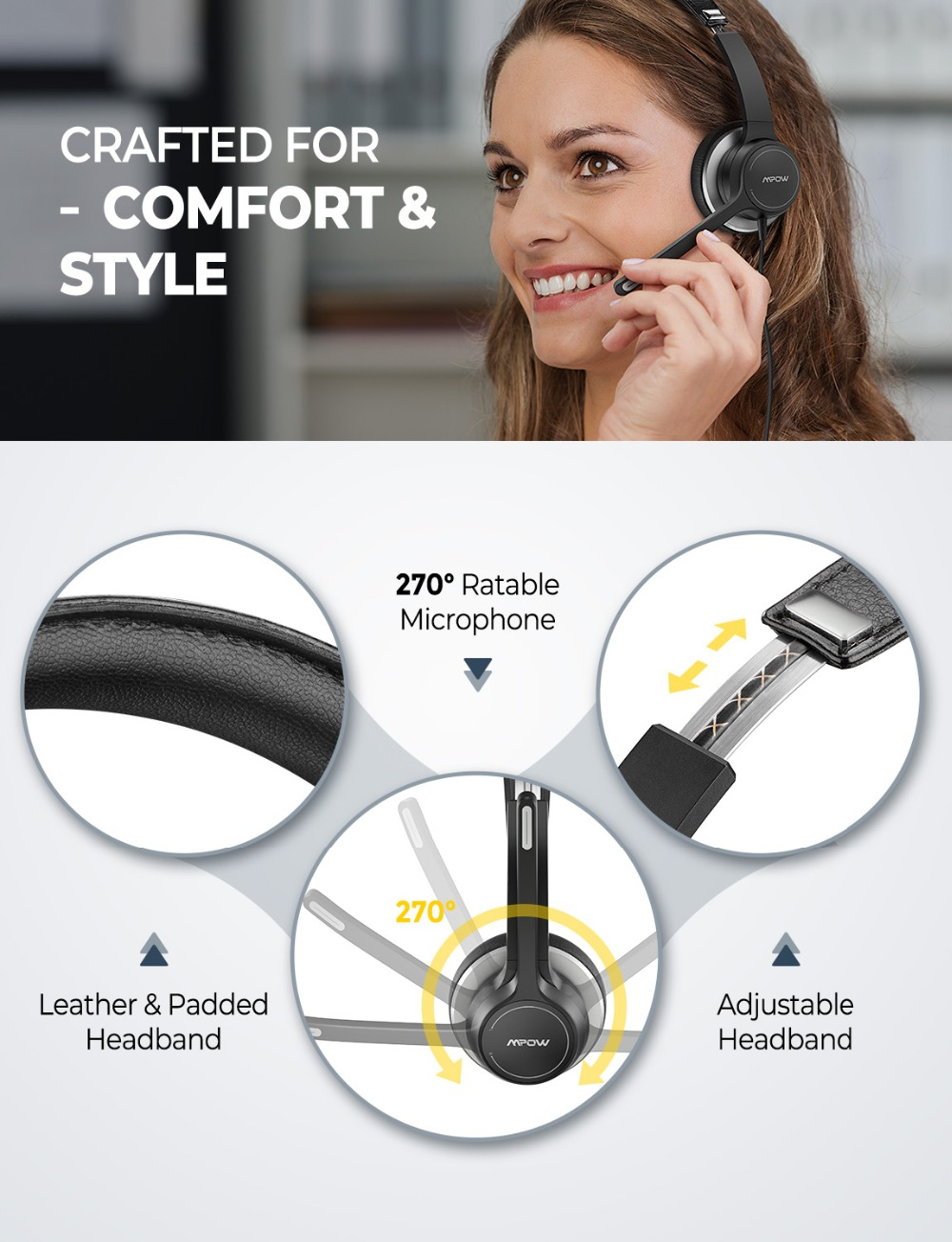 Mpow 328 Wireless Headphones USB 3.5mm Computer Headset With Microphone Noise Reduction Sound Card For PC Skype Call Center Mac (2)