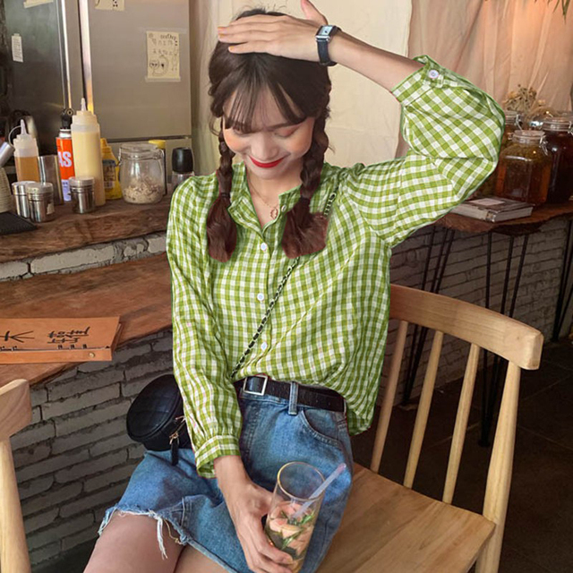 Simple Women Spring Summer Blouse Shirts Plaid Fashionable Single Breasted Casual Loose Wild Sweet Pink Tops 6