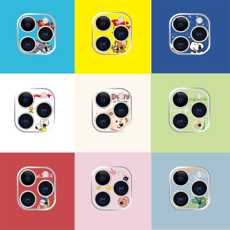 Funny Cute Cartoon Back Camera Lens Film For Apple Iphone 11 Pro Max Metal Camera Lens Protector Cover Ultra-thin Camera Cover