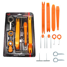 12pcs/set Car Radio Remover Removal Puller Pry Tool Car Door Panel Trim Upholstery Retaining Clip Plier Hand Audio Tool Set