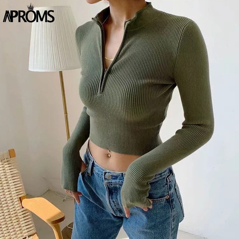 Aproms Elegant High Neck Zipper Front Knitted Sweater Women Solid Basic Cropped Pullover Winter Spring Fashion Clothing Top 2020
