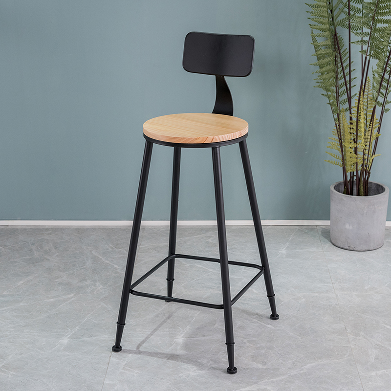 Bar Stool Iron Leisure Coffee Shop Tea Shop Wall Hanging High Table And Chair Nordic Simple Solid Wood Cashier Low Chair