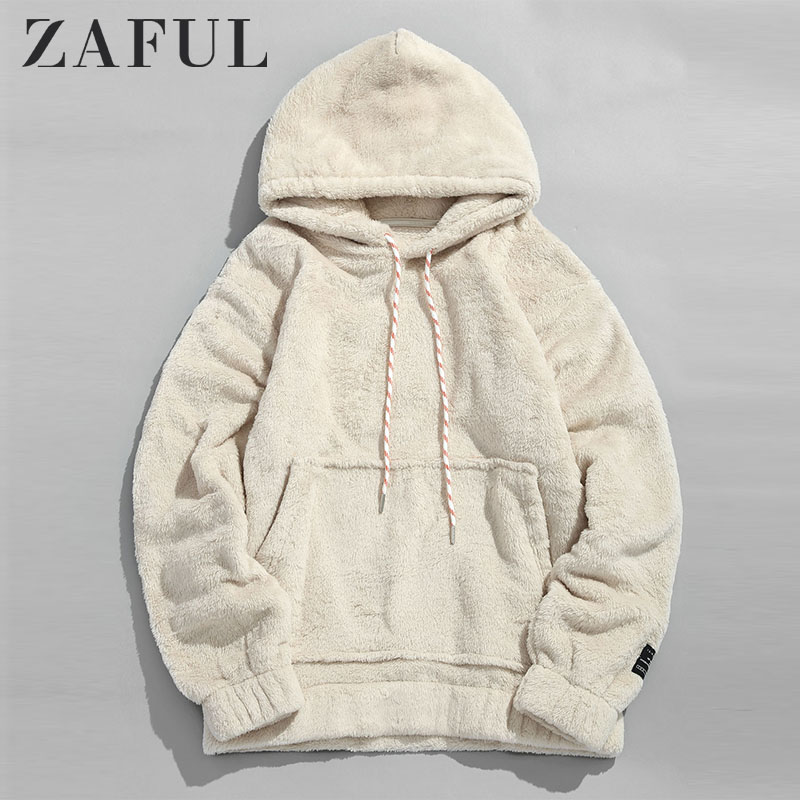 ZAFUL Winter Women Hoodies Coat Solid Pouch Pocket Fluffy Men Pullover Pouch Pocket Streetwear Hoodie Male Hooded Sweatshirt Top