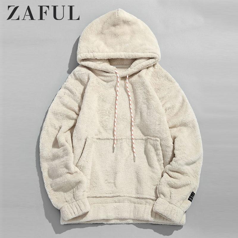 ZAFUL Winter Women Hoodies Coat Solid Pouch Pocket Fluffy Men Pullover Pouch Pocket Streetwear Hoodie Male Hooded Sweatshirt Top