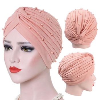 2020 cotton solid folds pearl muslim turban scarf  women islamic inner hijab caps Arab wrap head femme musulman turbante mujer - discount item  20% OFF Muslim Fashion
