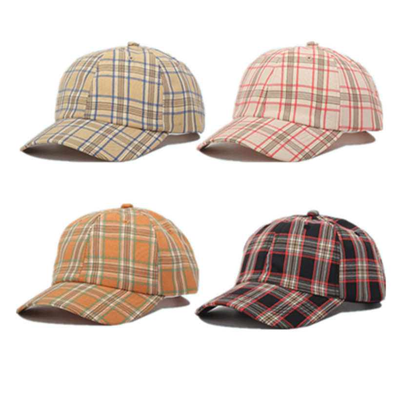 2020 Designer Baseball Cap Women Men Plaid Adjustable Curved Visor Hat Snapback Bone Casquette 6 Panel Dad Hat Tartan Shade Hats